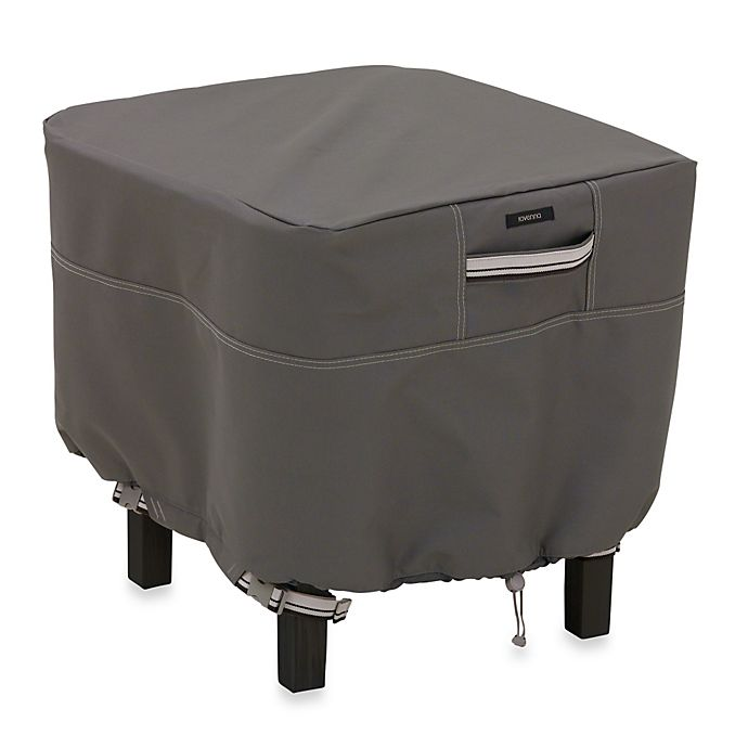 Alternate image 1 for Classic Accessories® Ravenna Small Square Ottoman/Side Table Cover in Dark Taupe