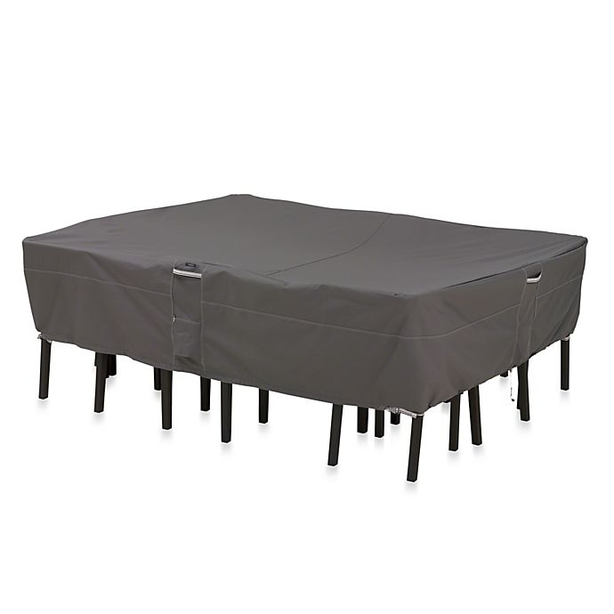 Alternate image 1 for Classic Accessories® Ravenna Medium Rectangular/Oval Patio Table and Chair Cover in Dark Taupe