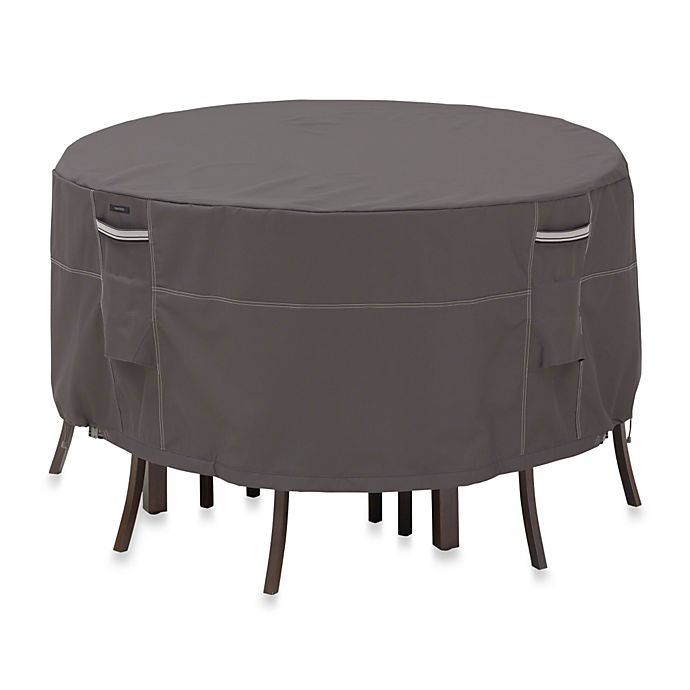 Alternate image 1 for Classic Accessories® Ravenna Round Patio Table and Chair Set Cover in Dark Taupe