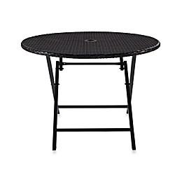 Crosley Palm Harbor Round Wicker Folding Table