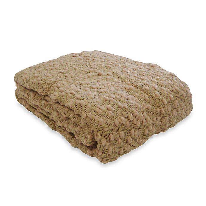 Alternate image 1 for Pom Pom Yarn Throw Blanket in Cornsilk