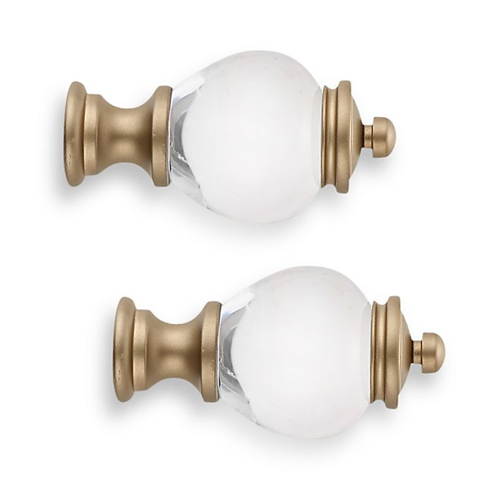 Alternate image 1 for Cambria® Premier Complete Clear Apothecary Finial in Warm Gold (Set of 2)