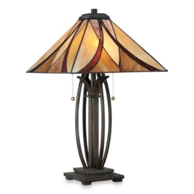 Quoizel Asheville 25-in Valiant Bronze Incandescent Table Lamp with Glass Shade | TF1180TVA