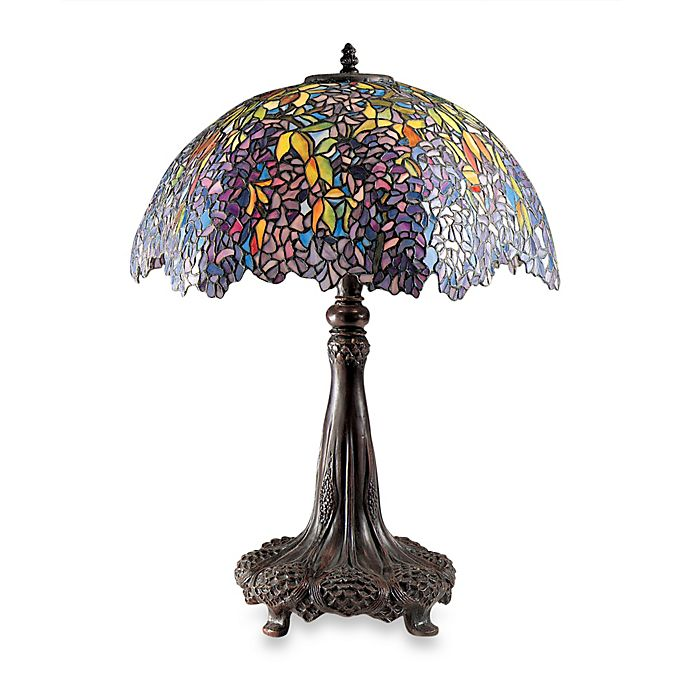 Quoizel Laburnum Tiffany 3 Light Table Lamp With Glass Shade Bed Bath Amp Beyond