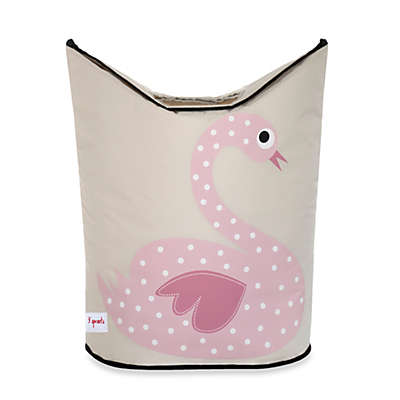 3 Sprouts Laundry Hamper in Swan