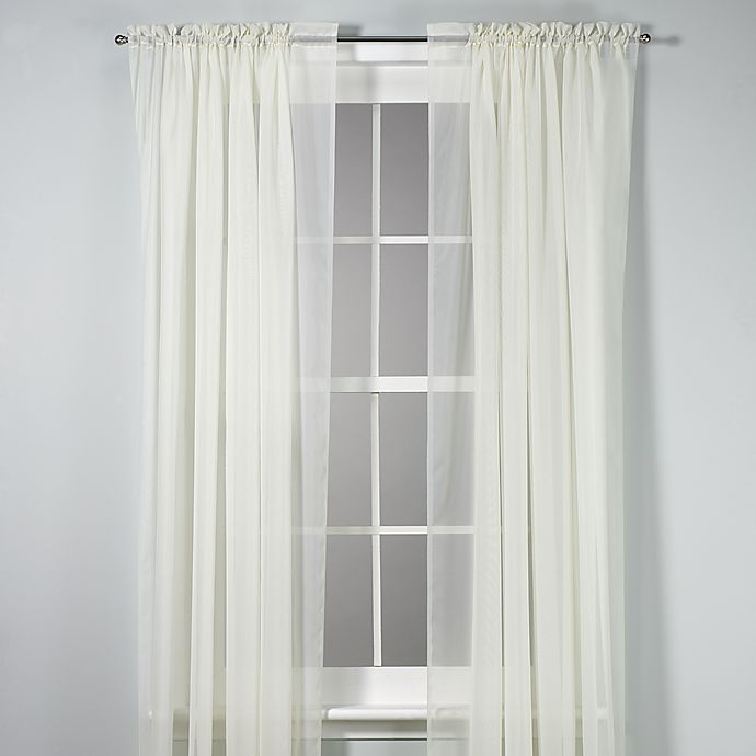 Alternate image 1 for Voile 108-Inch Sheer Rod Pocket Window Curtain Panel in Ivory