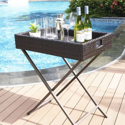 Crosley palm harbor outdoor wicker butler tray in brown - Bed bath and beyond palm beach gardens ...