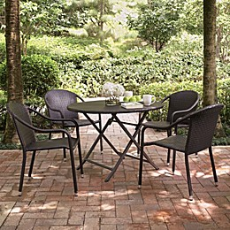 Lyndon Bay 5-Piece Outdoor Cafe Dining Set in Brown