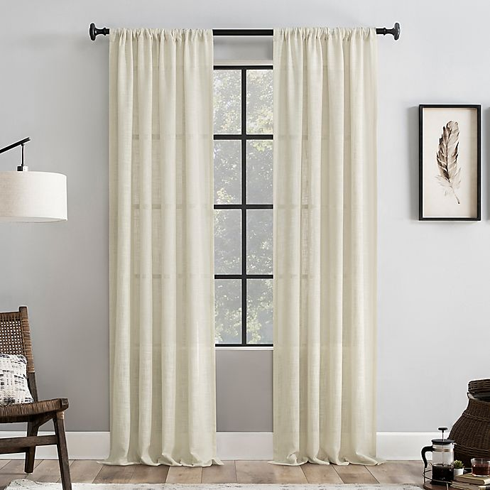 Alternate image 1 for Clean Window® Basketweave Anti-Dust 84-Inch Light Filtering Window Curtain Panel in Beige