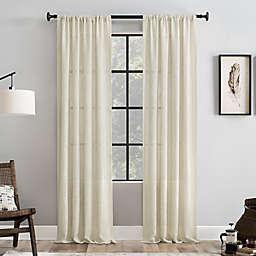 Clean Window® Basketweave Anti-Dust 95-Inch Light Filtering Window Curtain Panel in Beige
