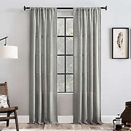 Clean Window® Basketweave Anti-Dust 84-Inch Light Filtering Window Curtain Panel in Grey