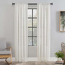 Clean Window® Vintage Stripe Anti-Dust 84-Inch Rod Pocket Sheer Window Curtain Panel in Beige