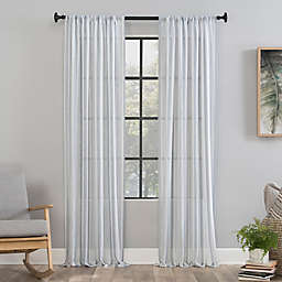 Clean Window® Vintage Stripe Anti-Dust 84-Inch Rod Pocket Sheer Window Curtain Panel in Dusty Blue