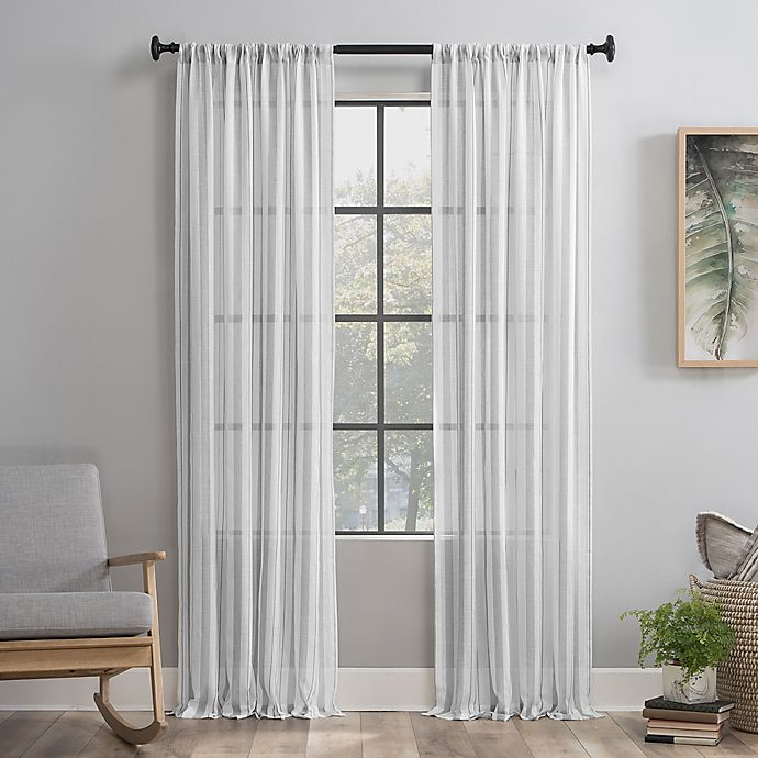 Alternate image 1 for Clean Window® Vintage Stripe Anti-Dust Curtain Panel