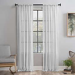 Clean Window® Vintage Stripe Anti-Dust 84-Inch Rod Pocket Sheer Window Curtain Panel in Grey