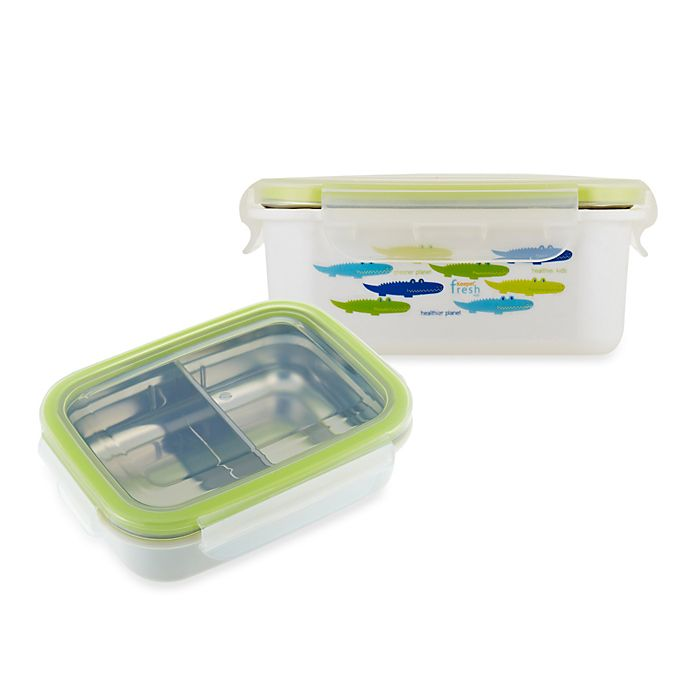 Alternate image 1 for Innobaby Keepin' Fresh™ Double-Lined Stainless Bento LunchBox in Alligator/Green