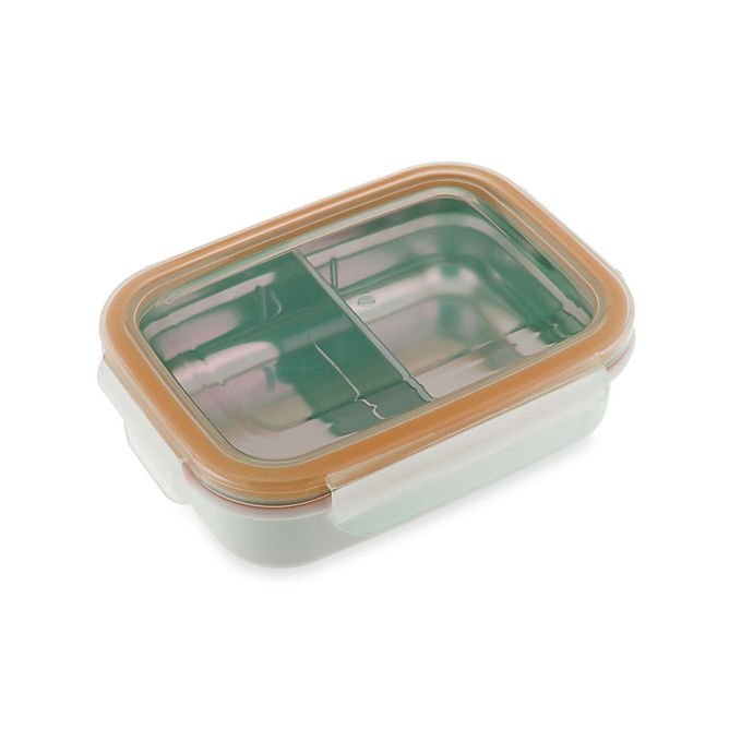 Alternate image 1 for Innobaby 11 oz. Double-Lined Stainless Bento Snack Box with Divider in Orange