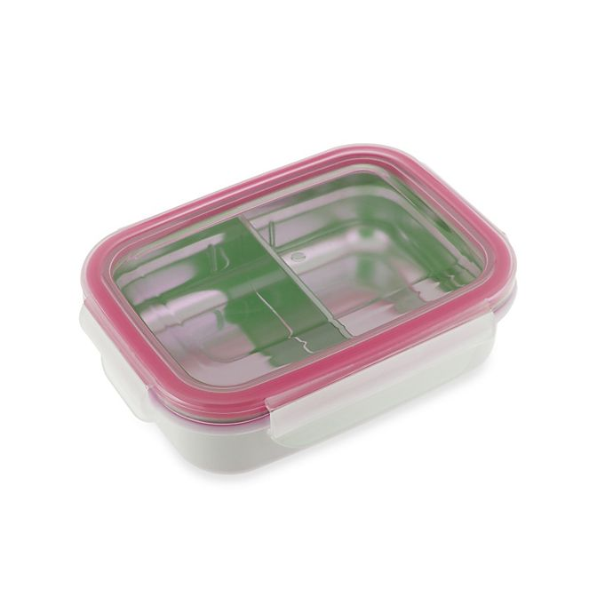 Alternate image 1 for Innobaby 11-Ounce Double-Lined Stainless Bento Snack Box with Divider in Pink