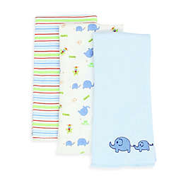 SpaSilk® Elephant 3-Pack Burp Cloths in Blue
