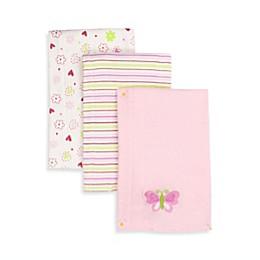 SpaSilk® Butterfly 3-Pack Burp Cloths in Pink