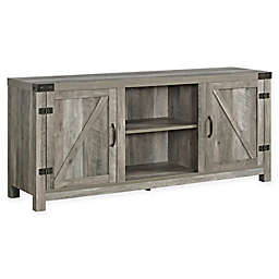 Forest Gate Wheatland Barn Door 58-Inch TV Stand with Side Doors in Grey