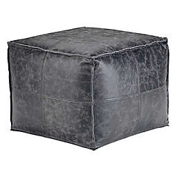 Simpli Home™ Tremblay Square Pouf in Distressed Black