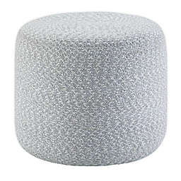 SimpliHome® Bayley Round Braided Pouf Ottoman in Blue/Natural