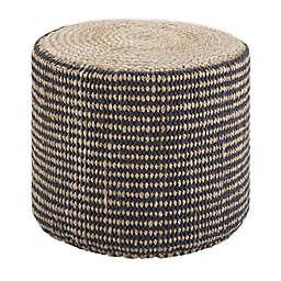 SimpliHome® Larissa Jute Round Braided Pouf Ottoman in Natural