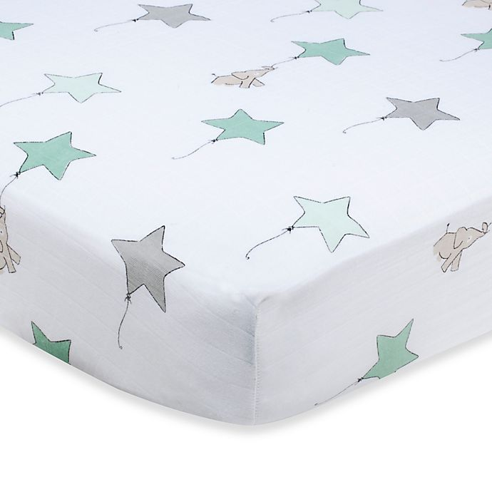 Alternate image 1 for aden + anais® 100% Cotton Muslin Crib Sheet in Up, Up & Away