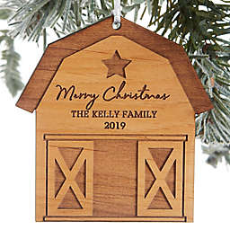Christmas Barn Personalized Wood Ornament Collection