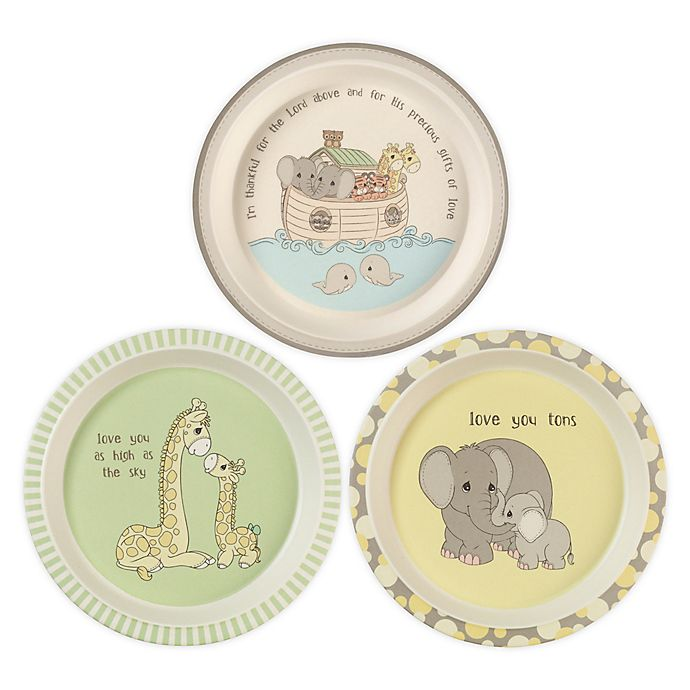 Alternate image 1 for Precious Moments® Noah's Ark Animals 3-Pack Plates Set