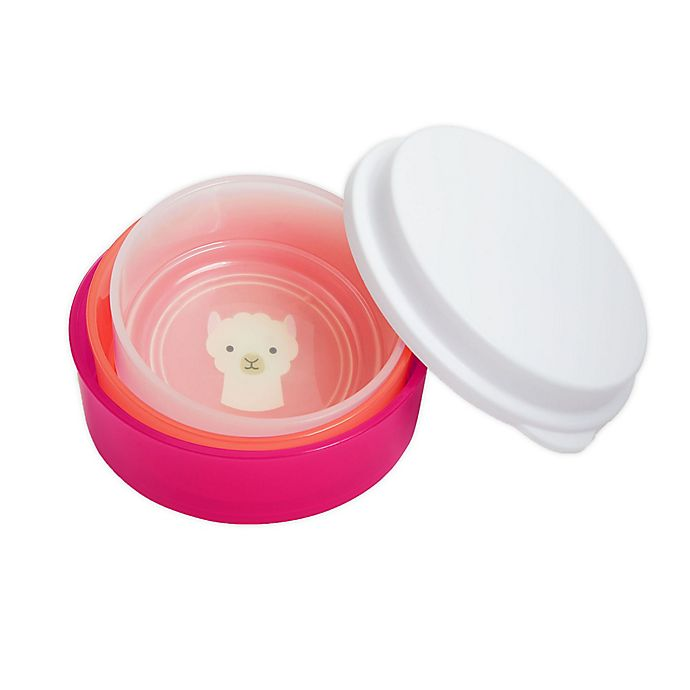 Alternate image 1 for SKIP*HOP® Zoo Llama 4-Piece Smart Serve Non-Slip Bowl Set