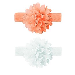 Tiny Treasures 2-Pack Laser Cut Floral Headbands in Peach/White