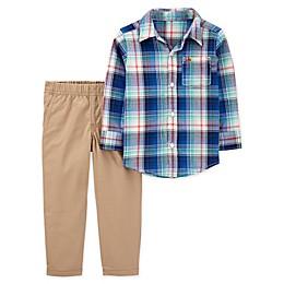 carter's® 2-Piece Plaid Button-Front Top and Canvas Pant Set