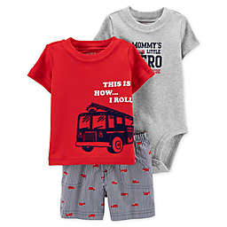 "carter's® 3-Piece ""How I Roll"" Shirt, Bodysuit, and Short Set"