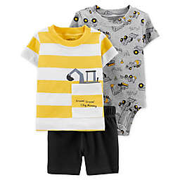 "carter's® 3-Piece ""I Dig Mommy"" Shirt, Bodysuit, and Short Set"
