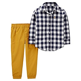 carter's® 2-Piece Gingham Top and Poplin Pant Set in Navy/Mustard