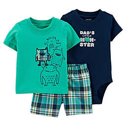 "carter's® 3-Piece ""Little Monster"" Shirt, Bodysuit, and Short Set"