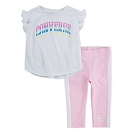 Converse 2-Piece Flutter Sleeve T-Shirt and Legging Set in Cherry Blossom