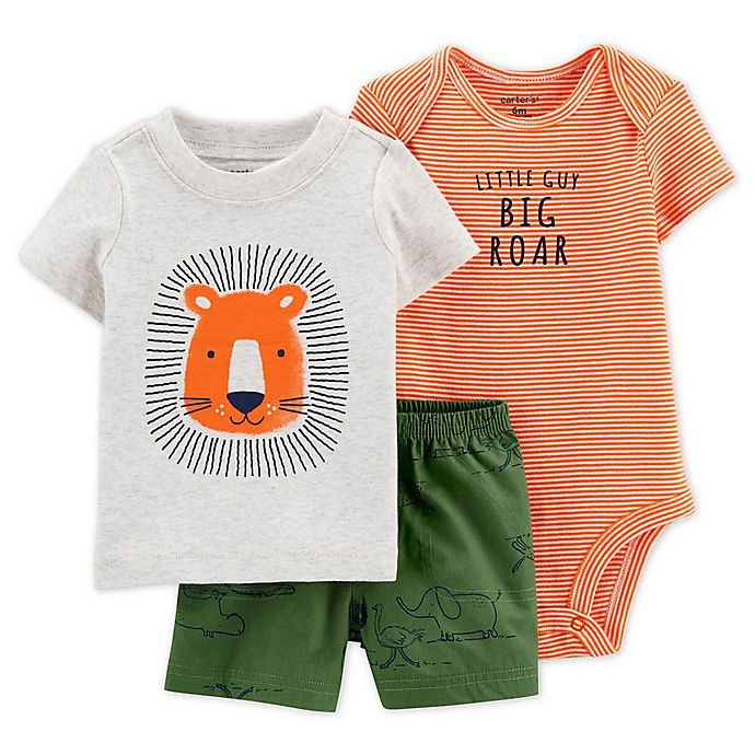 Alternate image 1 for carter's® 3-Piece Lion Shirt, Bodysuit, and Short Set