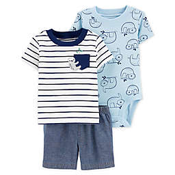carter's® 3-Piece Sloth Shirt, Bodysuit, and Short Set