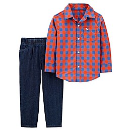 carter's® 2-Piece Plaid Button-Front Top and Denim Pant Set in Red/Blue