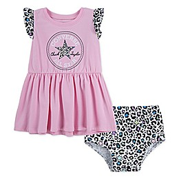 Converse 2-Piece Flutter Sleeve Dress and Diaper Cover Set in Cherry Blossom