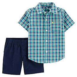 carter's® 2-Piece Plaid Shirt and Short Set in Turquoise