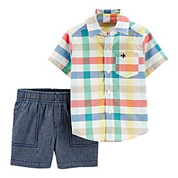 carter's® 2-Piece Multicolor Plaid Shirt and Short Set