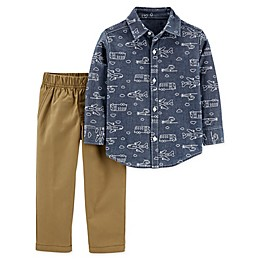 carter's® 2-Piece Transportation Chambray Button-Up Top and Pant Set