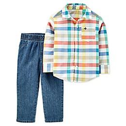 carter's® 2-Piece Plaid Button-Up Top and Pant Set