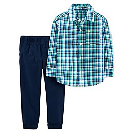 carter's® 2-Piece Turquoise Plaid Button-Up Top and Pant Set