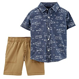 carter's® 2-Piece Button-Front Shirt and Short Set in Chambray