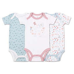 The Peanutshell® Tiny Blooms 3-Pack Floral Bodysuits in Blue